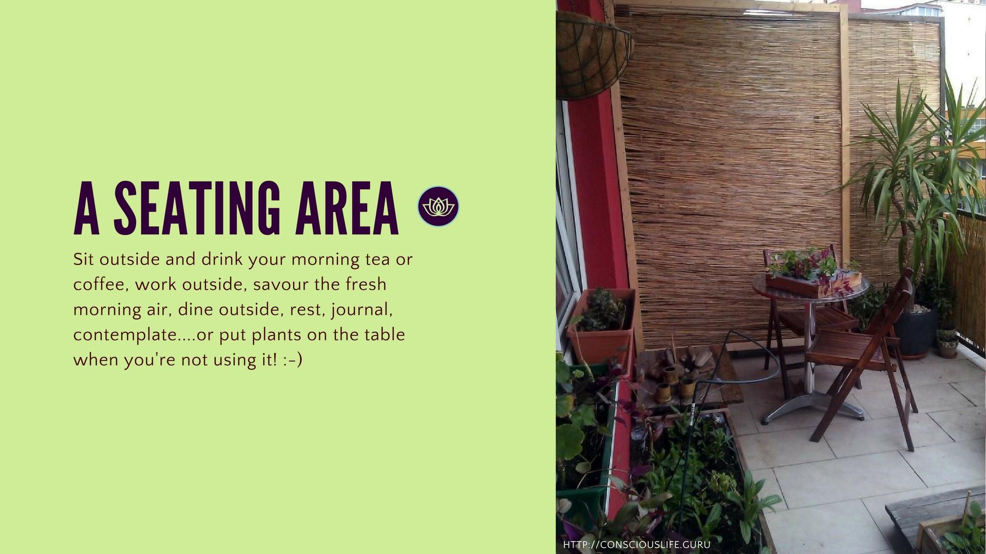 balcony garden seating area