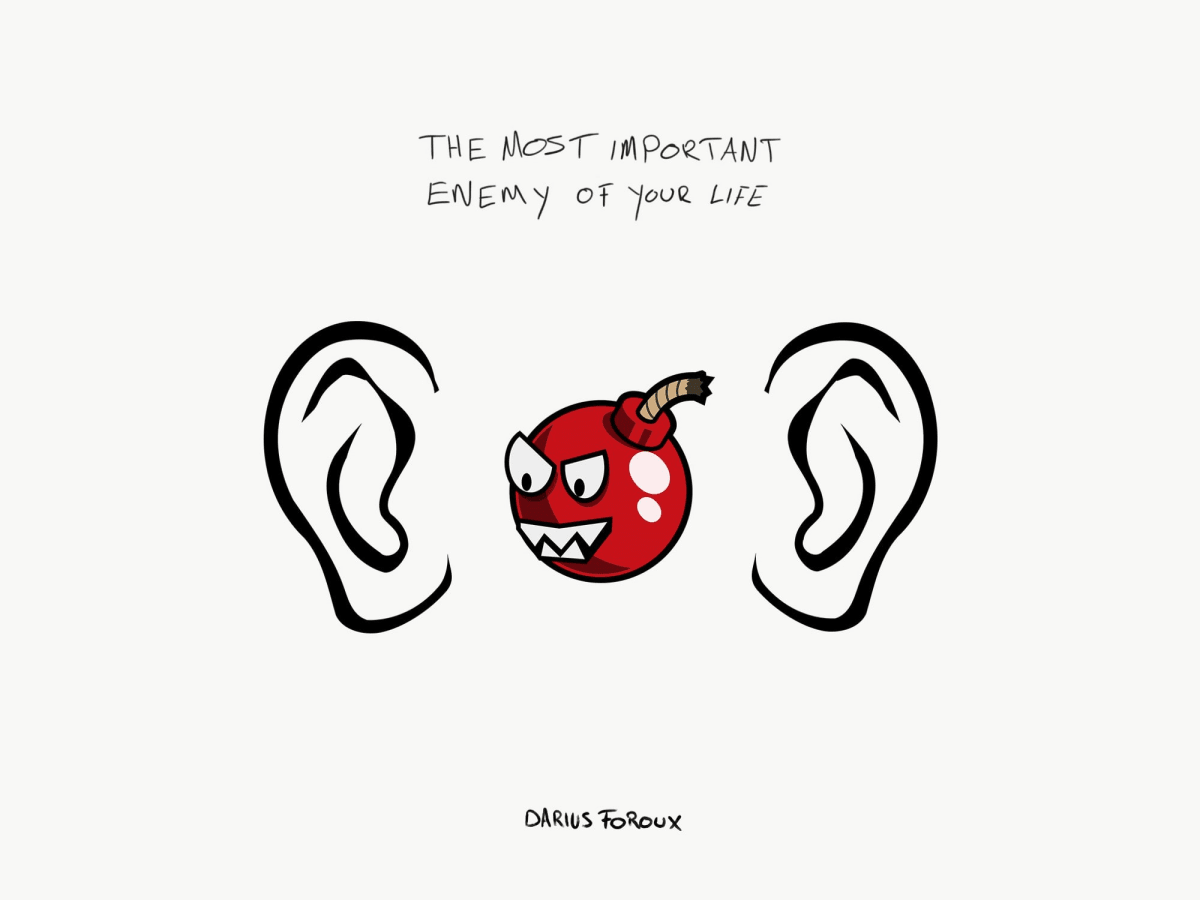 The Enemy Between Your Ears illustration by Darius Foroux