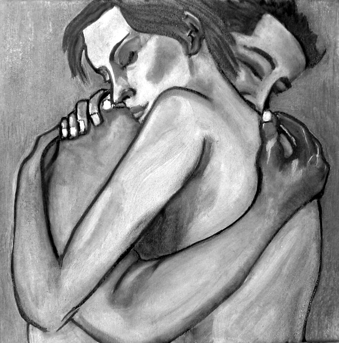 Embrace oil painting by artist Amy Adams art as shown on Conscious Life Space Guru