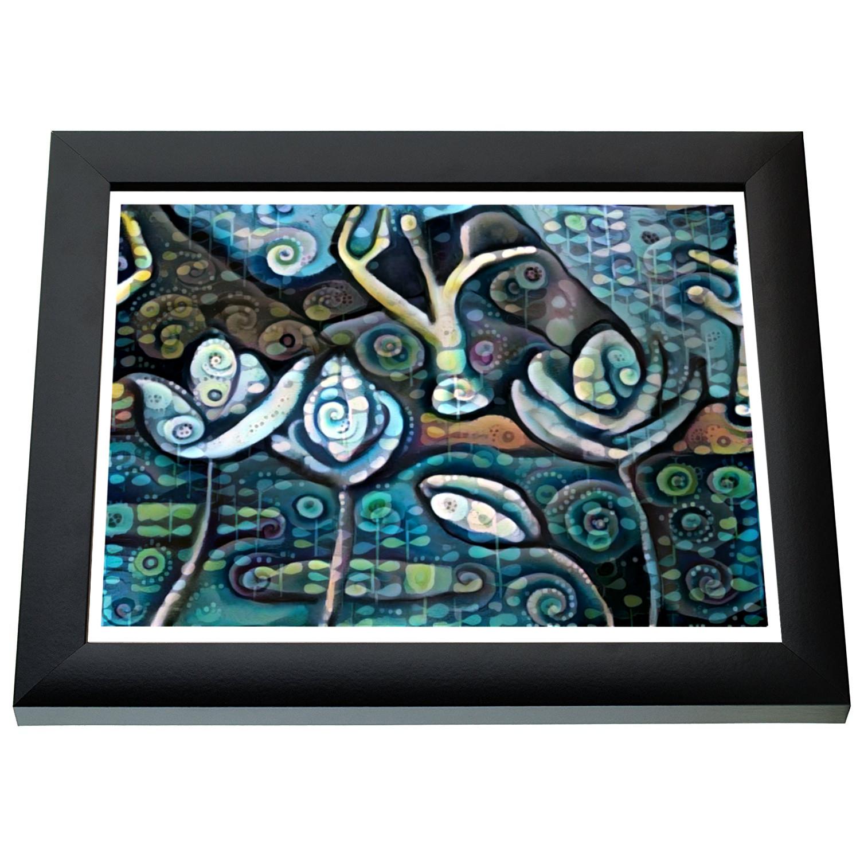Blue Seas Lotus Landscape Art (8.5×11/Letter Size)