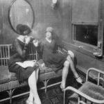1920s Women smoking on a train