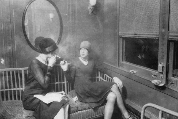 1920s Women smoking on a train