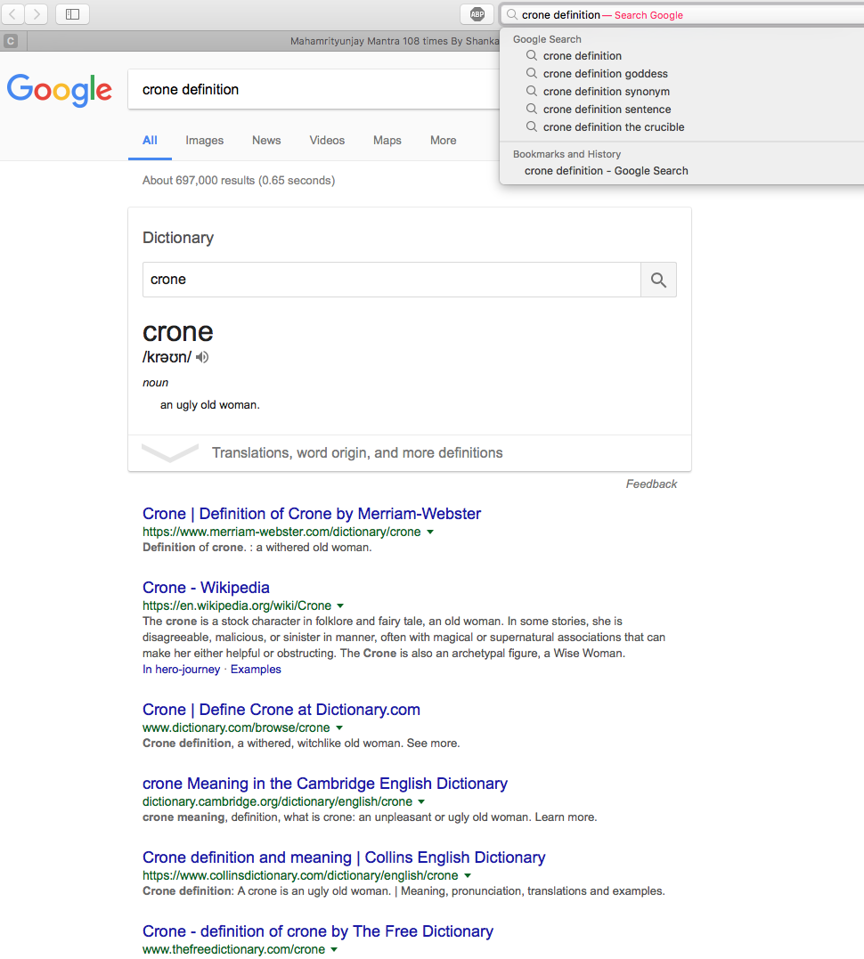 Screenshot of a Google search for the definition of a crone - it isn't the correct first answer