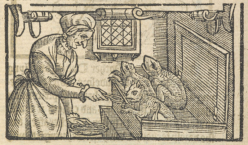 Witch pictured feeding her familiars with blood, in A Rehearsall both Straung and True, of Hainous and Horrible Actes Committed by Elizabeth Stile (1579)