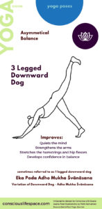 3 legged downward dog asana - yoga pose infographic created by conscious life space CC4.0 Intl Attribution