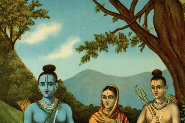 Image of Rama, Sita and Lakshmana featured in Conscious Life Space's article on Tree Pose and the mythology of Queen Sita