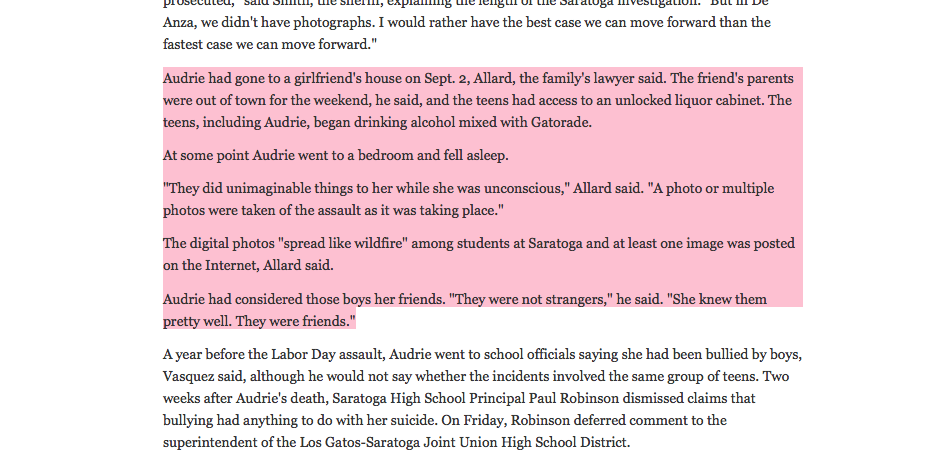Excerpt from the Oakland Press on the story of Audrie Pott and the crimes comitted against her