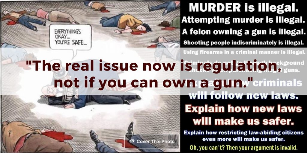 The real issue now is regulation, not if you can own a gun. Gun regulation opposing memes on Conscious Life Space