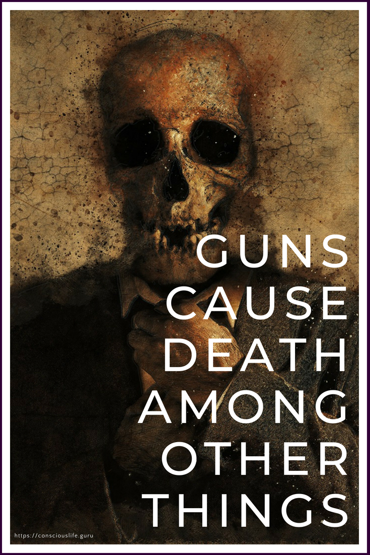 Skeleton in Suit - Guns Cause Death -Conscious Life Space
