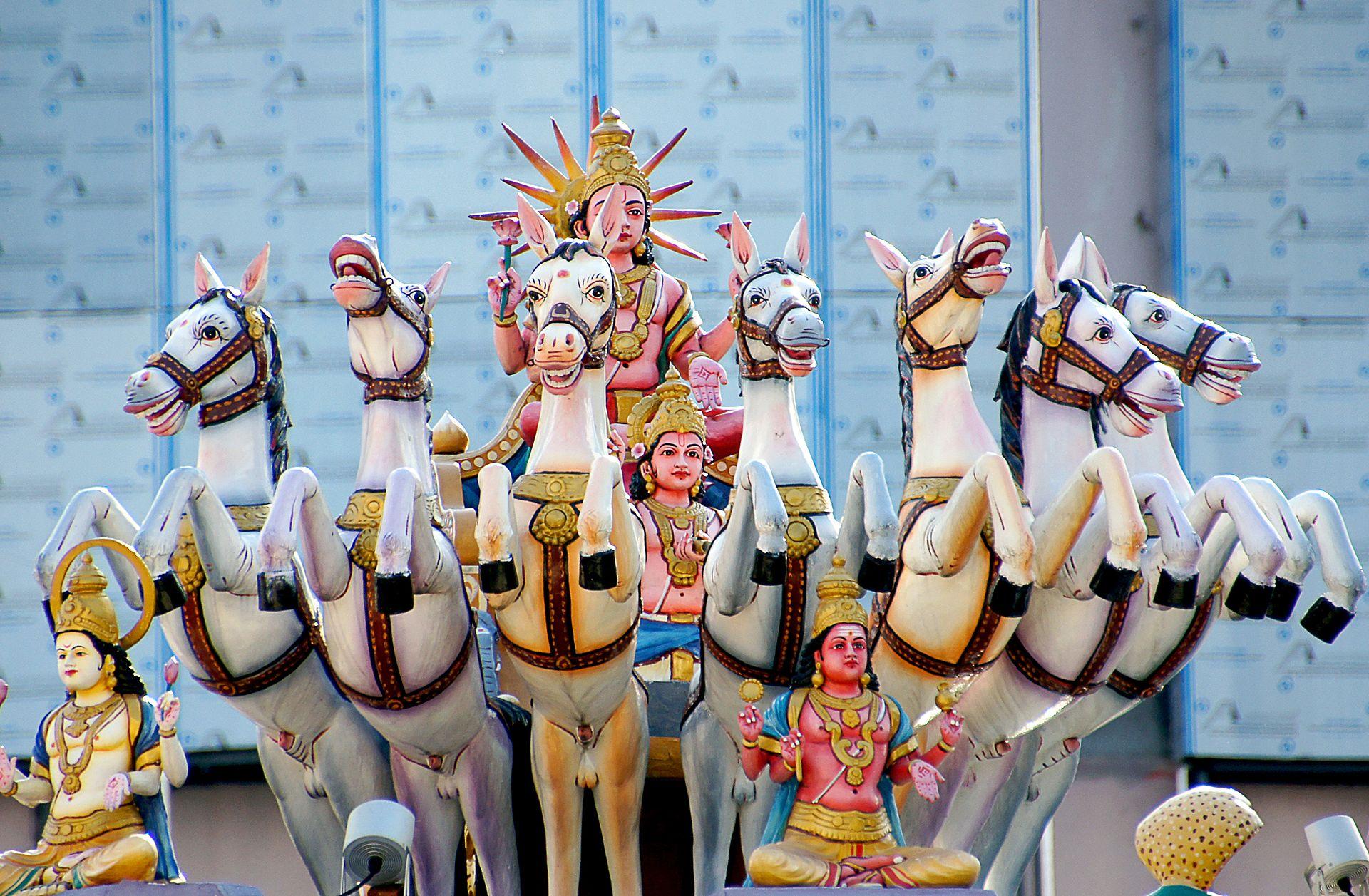 The Hindu Sun God Surya with 7 Horses