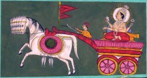 Surya sun god painting with Aruna the charioteer and horses - painting 1800