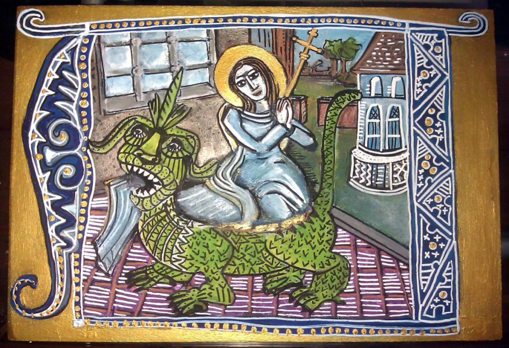 Saint Martha with the Tarasque, wooden painted icon - Amy Adams Artist