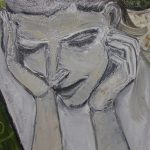 Painting of a sad woman holding her head in her hands by artist Amy Adams