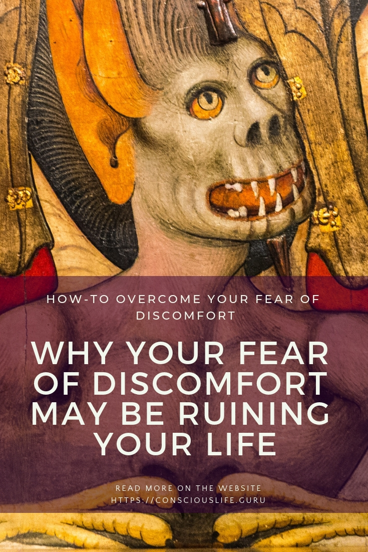 discomfort fear embodied with angels feet upon the shoulders of the fear conscious life space  Pinterest image for consciouslife.guru