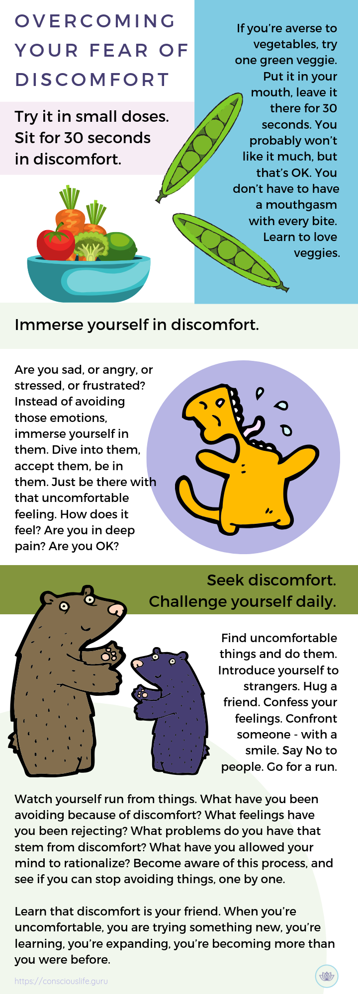 Infographic - how-to overcome discomfort - overcoming your fear of discomfort leo babauta and conscious life space