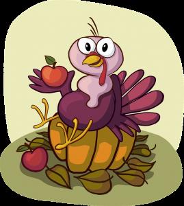 Turkey on a Pumpkin Cartoon