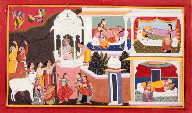 Image showing the birth of the four divine sons of King Dasaratha