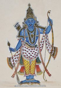 Painting of Rama the 7th avatar of Vishnu and featured in the Ramayana