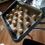 Tray of Cookie Dough formed into balls