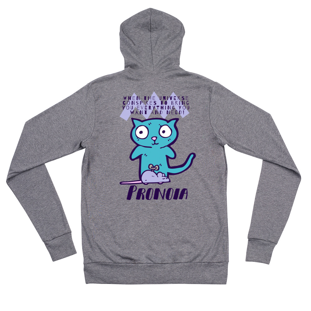 Unisex Pronoia Cat Front Zip Super Soft Hoodie