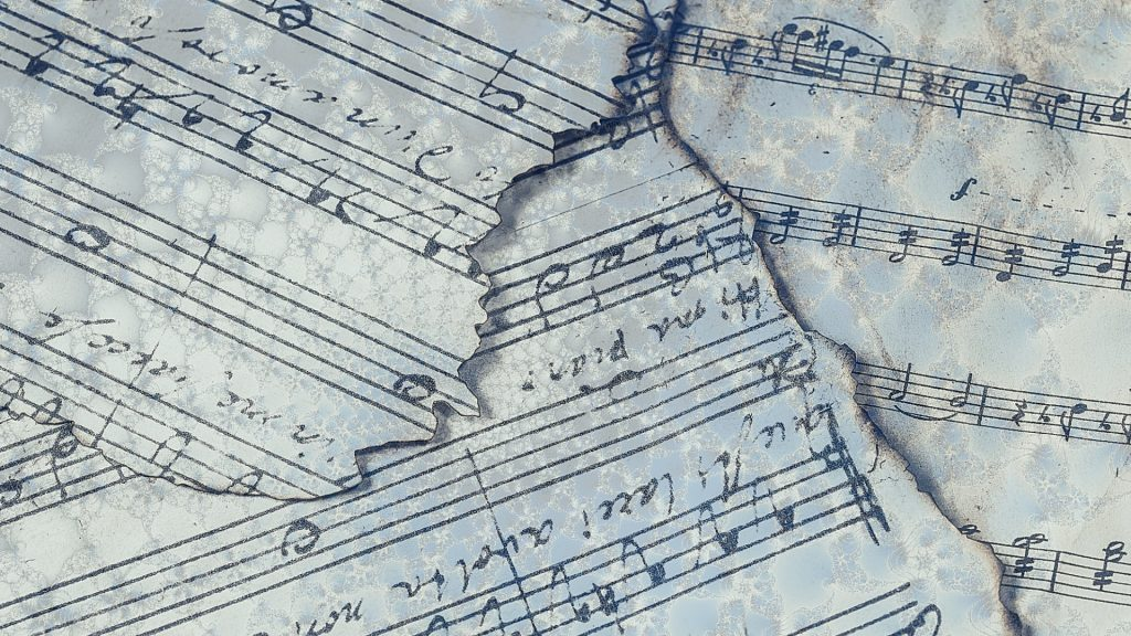 Musical notes on paper vintage