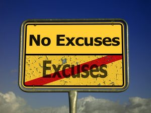 No excuses street sign
