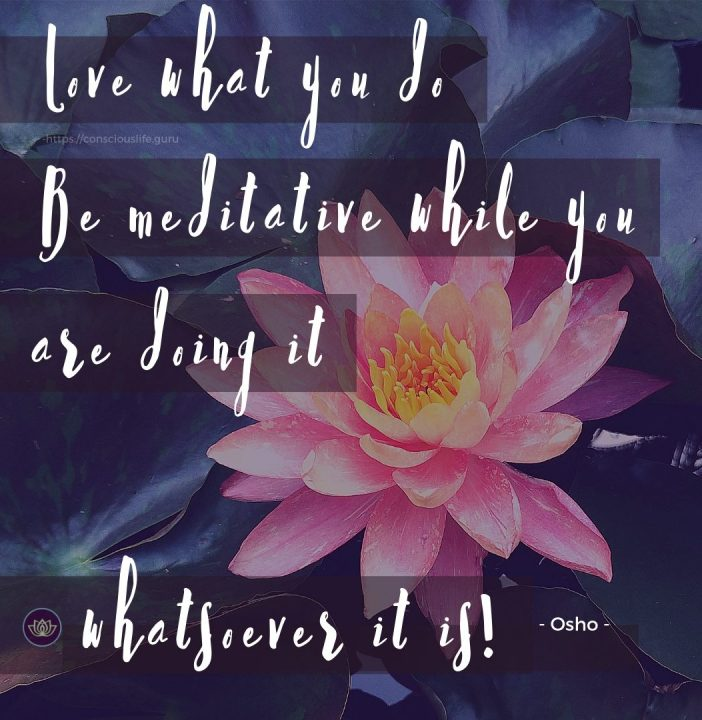 Love what you do. Be meditative while you are doing it whatsoever it is – Osho