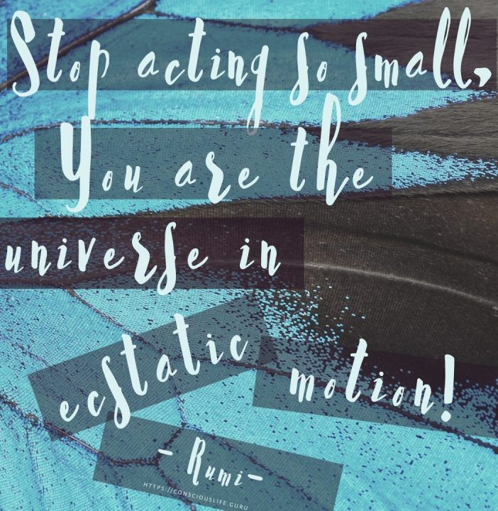 Stop acting so small, you are the universe in ecstatic motion! – Rumi