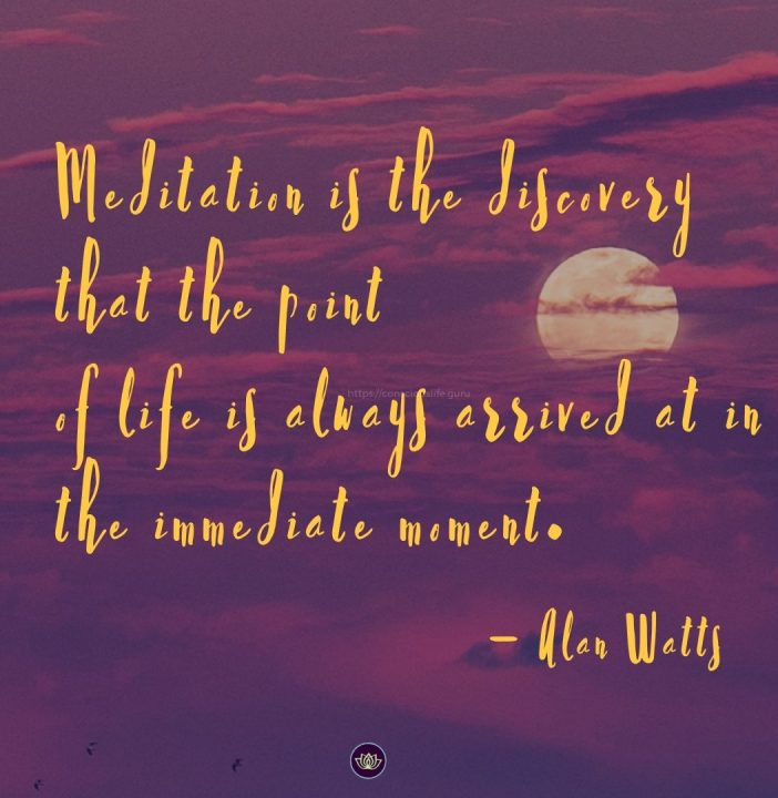 Meditation is the discovery that the point of life is always arrived at in the immediate moment. Alan Watts